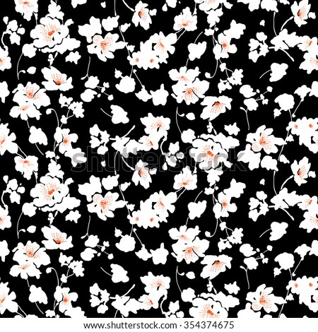 tiny flowers seamless pattern vector black and white - Black And White Flowers