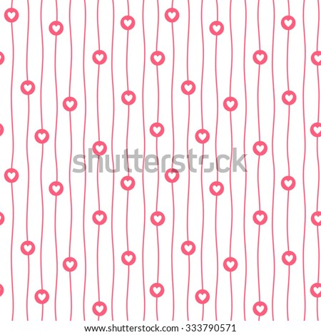 Tiny hearts, circles and wavy stripes valentine seamless pattern. Simple hearts background with white uneven bars endless texture. Flat design. Red backdrop. - stock vector