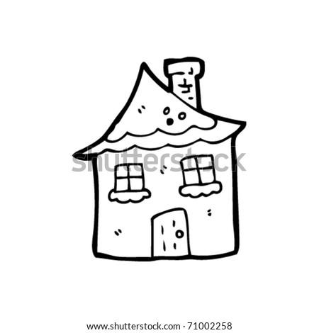 tiny snow covered house cartoon - stock vector