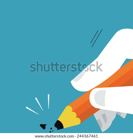 Tip of pencil being broken, abstract illustration presenting to unexpected error or mistake.  - stock vector