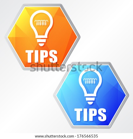 tips and bulb sign, two colors hexagons web icons, flat design, business support concept, vector - stock vector