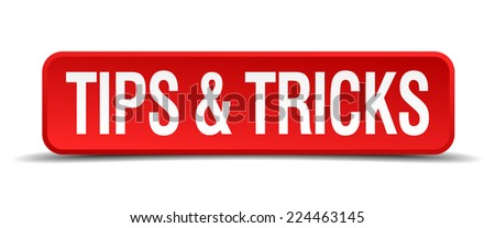 Tips and tricks red 3d square button isolated on white