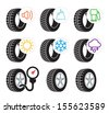 Tire efficiency performance icons and label set - stock