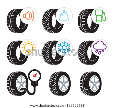 Tire efficiency performance icons and label set - stock vector