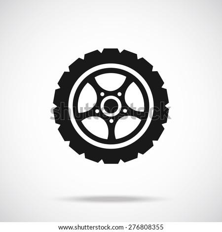 Tire icon. Black vector icon. Modern car wheel concept. - stock vector
