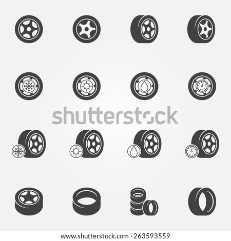 Tire icons set - vector wheel tyre symbols and logos - stock vector