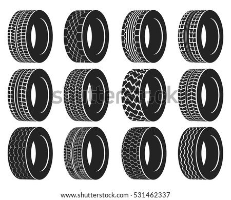 Tire Wheel Truck Bus Automobile Tyre Stock Vector