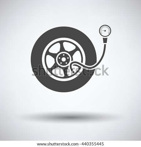 Tire pressure gage icon on gray background, round shadow. Vector illustration.