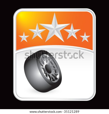 tire rotated on star background - stock vector