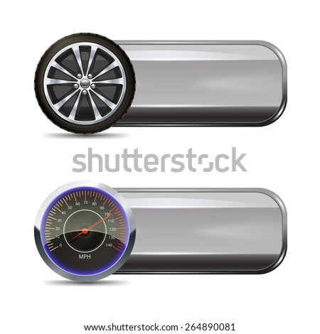 Tire service horizontal banners set with realistic wheel and speedometer elements isolated vector illustration - stock vector