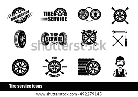 Tire service icons and logotypes. Vector tire, wrench, wheel  and badges for tire service. Vector illustration.