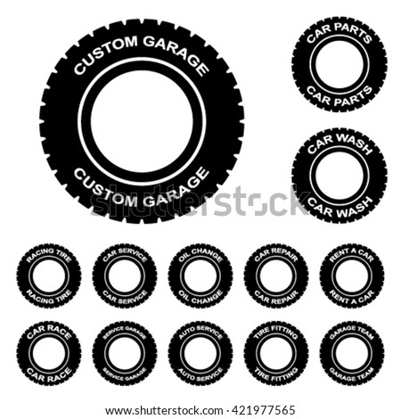 tire service rent wash car garage repair vector - stock vector