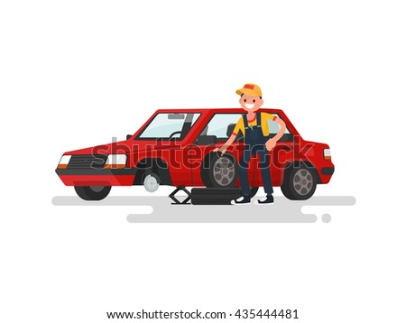 Tire service. Worker changing a punctured tire a passenger car. Vector illustration of a flat design - stock vector