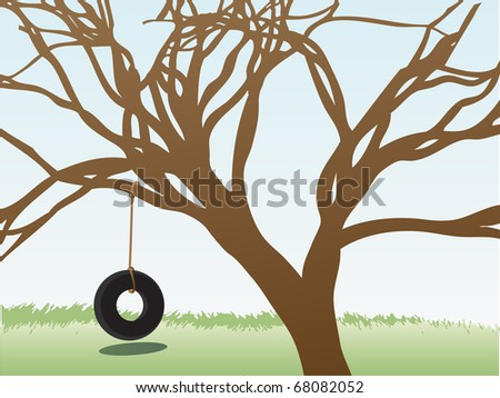 Tire swings hangs from leafless tree in grass field daytime - stock vector