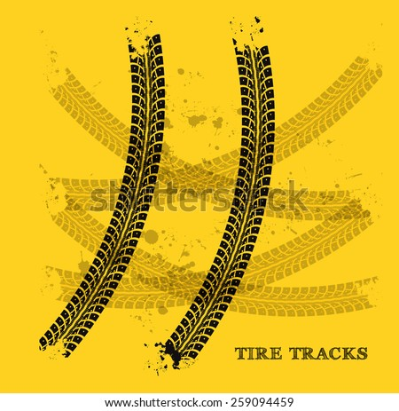 Tire track background - stock vector