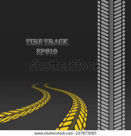 Tire track. Tire tracks with perspective and template for tire brush. Car way on the ground. - stock vector