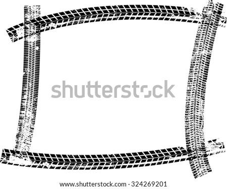 tire track vector border frame distressed stock vector 324269201 rh shutterstock com Tire Track Vector Art Dirt Bike Tire Track Vector