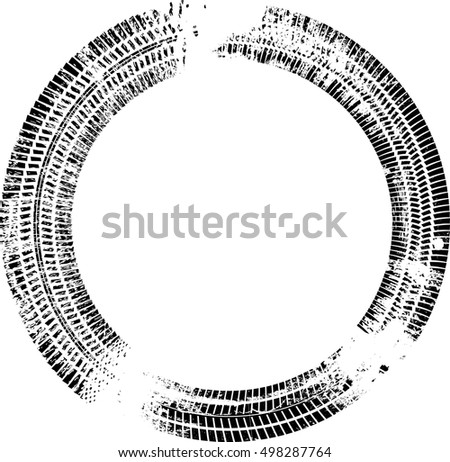Tire Track Vector Round Border Frame . Distressed Overlay Grunge Design