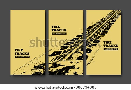 Tire tracks background.  - stock vector