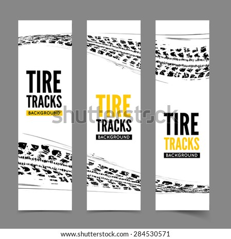 Tire tracks background. Vector illustration. can be used for for posters, brochures, publications, advertising, transportation, wheels, tires and sporting events - stock vector