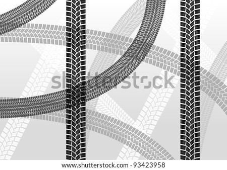 Tire tracks creative illustration background vector