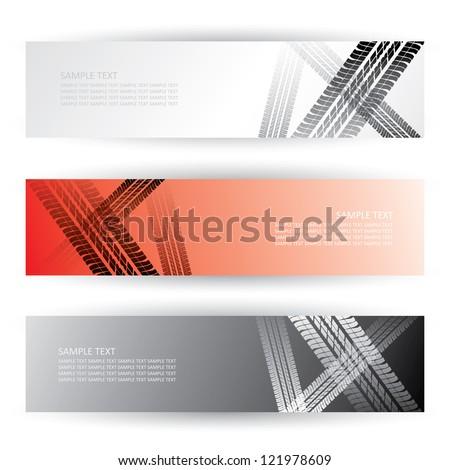 Tire tracks headers - vector illustration - stock vector