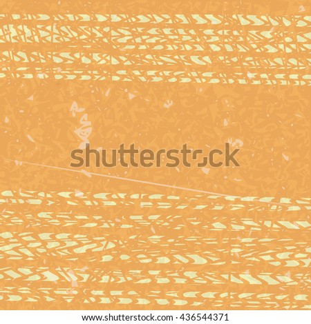 Tire tracks in grunge style. orange background. vector illustration - stock vector