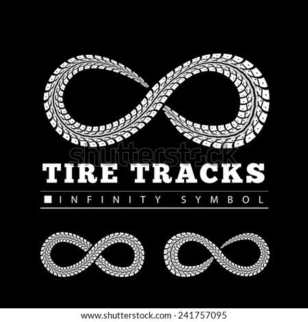 Tire Tracks in Infinity Form - stock vector