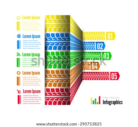 Tire tracks infographics background - stock vector