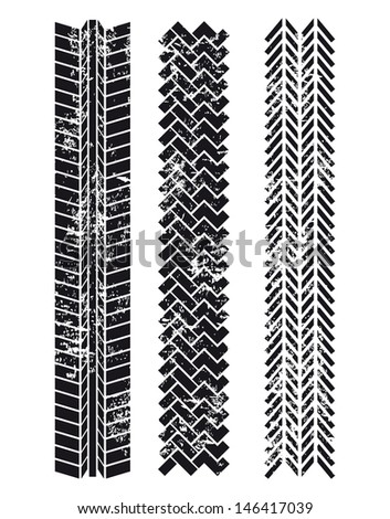 tire tracks over white background vector illustration  - stock vector