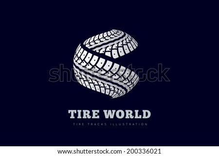 Tire tracks sign in the form of spheres - stock vector