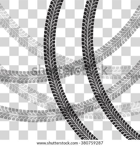 tire tracks vector illustration on checkered stock vector