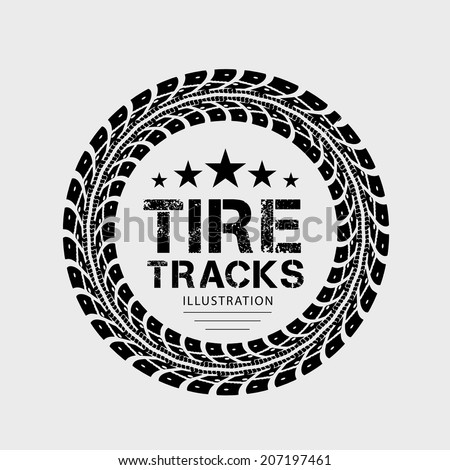Tire tracks. Vector illustration on grey background - stock vector