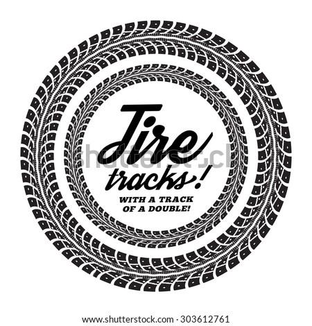 Tire tracks. Vector illustration on white background - stock vector