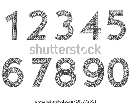 Tire tread number set from 1 to 9 including 0  - stock vector