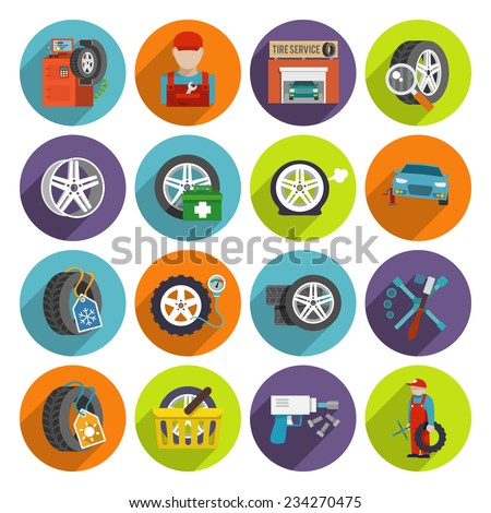 Tire wheel service shop car auto maintenance repair flat long shadow icons set isolated vector illustration - stock vector