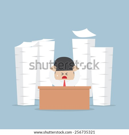 Tired and busy businessman with piles of work to do, VECTOR, EPS10 - stock vector