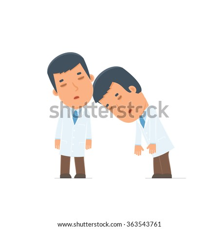 Tired and Exhausted Character Doctor sleeping on the shoulder of his friend. Poses for interaction with other characters from this series - stock vector