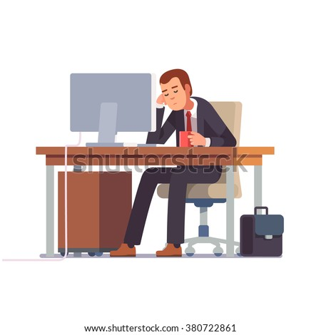 Tired businessman sleeping at his office desk with a cup of coffee. Flat style modern vector illustration. - stock vector