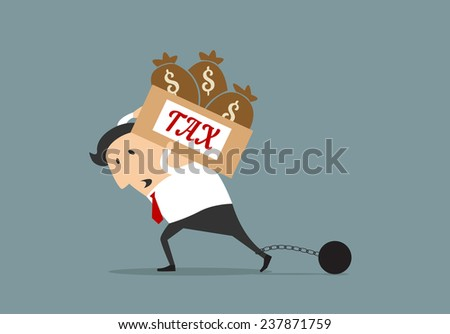 Tired cartoon businessman carrying on his shoulders heavy tax box with money bags, his leg locked in a chains and ball - stock vector