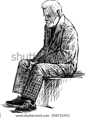 tired old man - stock vector