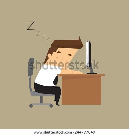 Tired overworked businessman sleeps on desk.vector - stock vector