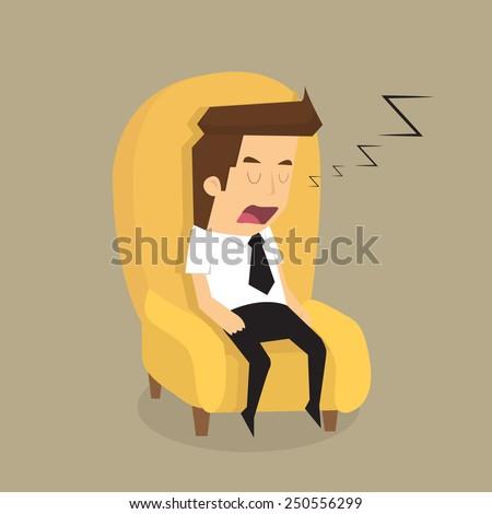 Tired overworked businessman sleeps on sofa.vector - stock vector