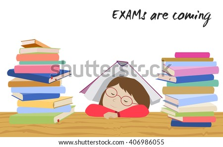 Exam preparation stock images royalty free images vectors tired schoolgirl sleeping under a book examination test preparation exam student stress before thecheapjerseys Image collections