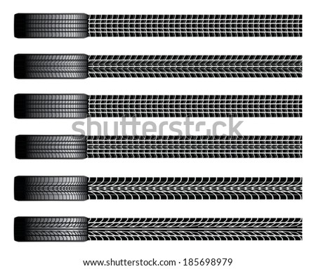 Tires and Tire Tracks is an illustration of six different tires from a birds eye view and their tire tracks. - stock vector