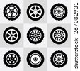 Tires and wheels icons set. Vector illustration. - stock photo