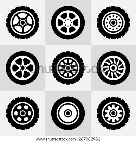 Tires and wheels icons set. Vector illustration. - stock vector