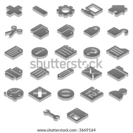 Titanium 3D icons Basic (1 of 2) - stock vector