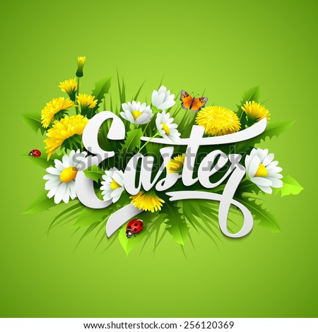 Title Easter with spring flowers. Vector illustration EPS10 - stock vector