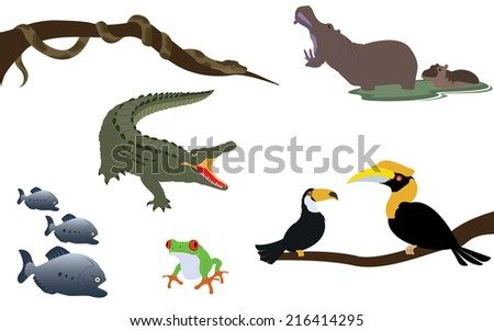 Title: Forest Jungle and River Animals Wildlife Description: Set of Forest Jungle and River Animals Wildlife Vectors - stock vector